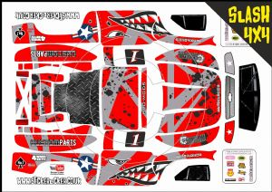 RED Sharks Teeth themed vinyl SKIN Kit To Fit Traxxas Slash 4x4 Short Course Truck